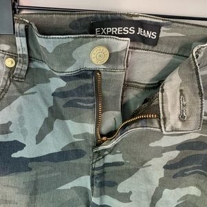 Express camouflage ankle zip jeans 6R 5 pocket